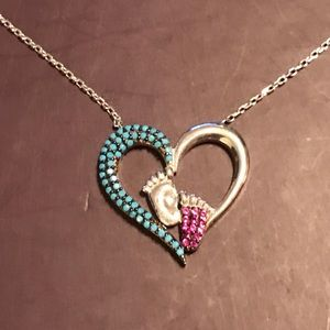 Jewelry - BABY FEET IN OPEN HEART TURQUOISE➕RUBY NECKLACE